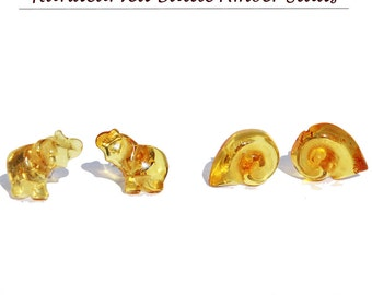 Honey Baltic Amber Rose Studs with sterling silver back finding. Comes with lovely gift box. CFQNsAV8Ef