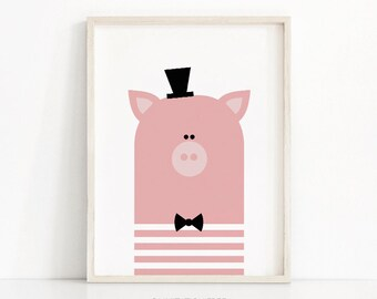 Animal Nursery Art, Pig Nursery Print, Instant Download, Printable Art, Kids Print, Nursery Wall Art, Printable Kids Decor, Animal Print Art