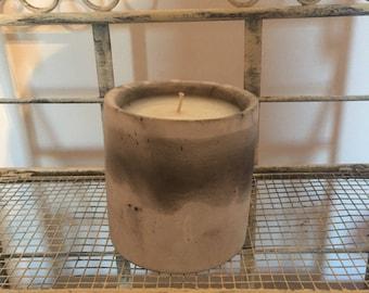 Greyish Stone Effect Candle,Scented in Bergamot Orange & Sandalwood