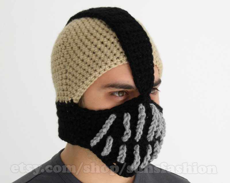 ski mask Bane Mask Batman Crochet Beanie Hat Slouch Mens Handmade Winter Men Snowboard Ski boyfriend gift FREE SHIPPING