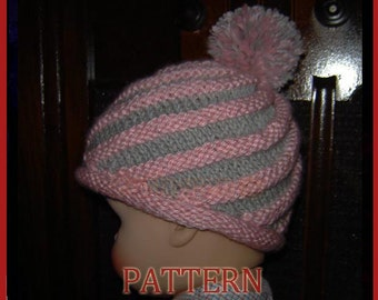 Baby/toddler/preteen/adult Spiral Hat-INSTANT DOWNLOAD Knitting Pattern