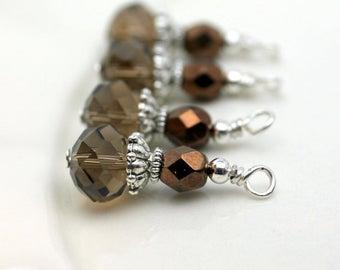 Vintge Style Smokey Topaz Crystal with Copper Czech Bead Earring Dangle Charm Drop Set Pendant