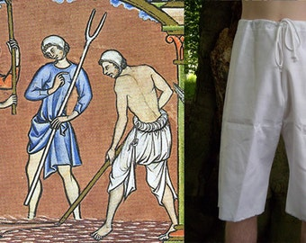 Braies. Full or Cropped Length Men's Medieval Braies, medieval underwear, reenactment clothing, historical costume. LARP, SCA, Ren Fest.