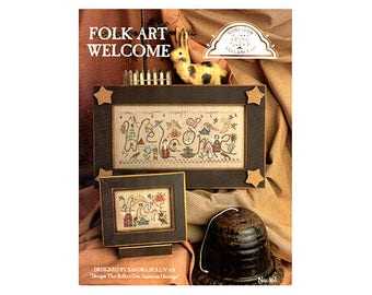 Welcome Cross Stitch, Folk Art Welcome Cross Stitch, Cross Stitch Pamphlet, Seasons Cross Stitch, Craft Books by NewYorkTreasures Etsy