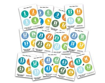 Week by Week Baby or Pregnancy Stickers, DIY Printable Weekly Boy BUMP Stickers, Every single week, Bonus, Photo Prop, Instant Download