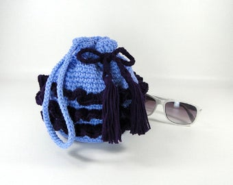 Ruffled Purse - Girl's Ruffled Purse - Little Girl's Purse - Crochet Purse - Make-up Bag - Cosmetic Bag - Periwinkle & Dark Purple