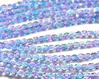 Pink Blue 4mm Faceted Fire Polish Beads 50