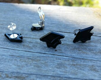 Black Mortarboard Graduation Cap Earrings - Clip on or Post options - Graduate gifts - Teacher gifts