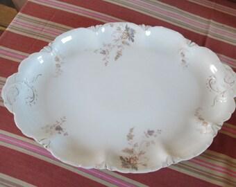 Vintage Rosenthal Porcelain Platter-Large China Serving Platter-Holiday Table Platter-Large China Floral Plate-Antique German Floral Platter