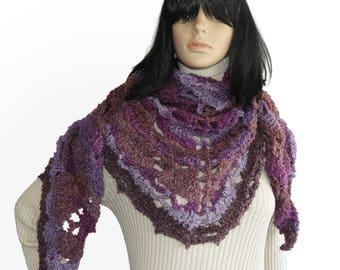 Triangular Crochet Shawl Wrap Scarf, Triangular Crochet Lace Women's Shawl Wrap in purple mauve lilac tones