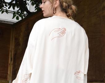 Bone Tencel Cocoon Kimono     Print Optional