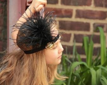 Black and Gold  flapper headband, Gatsby headband, art deco headpiece, 1920s headpiece, Gatsby headband, flapper headband,