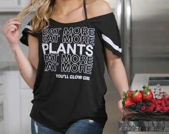 Eat More Plants! Flutter Sleeved Wide Tee. Made in the USA.  Off the Shoulder Tee for Vegans.  Plant Powered Vegan Shirt.