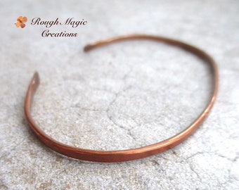 Minimalist Copper Cuff, Rustic Bracelet, Unisex Jewelry, Simple Statement, Gifts for Women Men Couples, His & Hers Jewelry, Hammered Metal