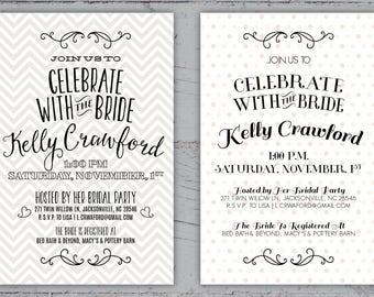 Celebrate The Bride Patterned Bridal Shower Invitation   5x7   Printable Digital Download   Custom Invitation   Gray or Pink Bridal Shower
