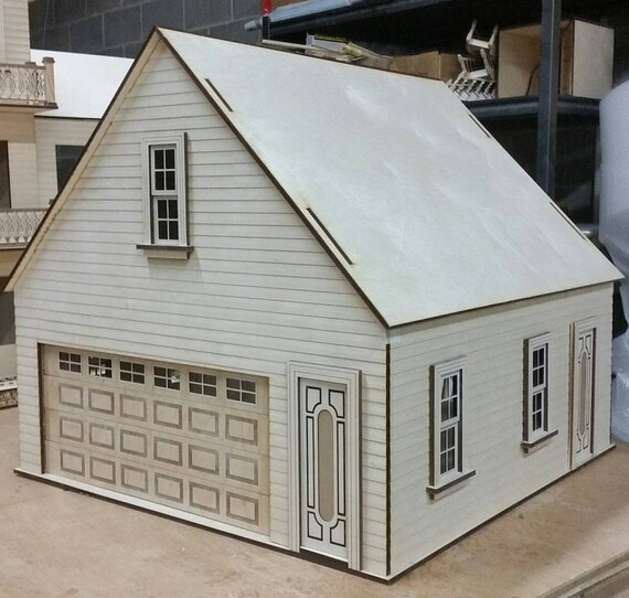 Scale One Inch, Craftsman 2 Car Dollhouse Miniature Garage/Workshop Kit, Scale One Inch
