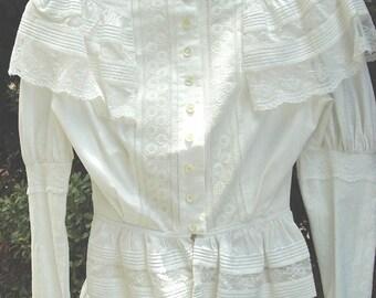 Original Victorian 2 Pc. Summer Dress Lace Trim Cotton Top/Skirt Size 8 Item # 109  Victorians