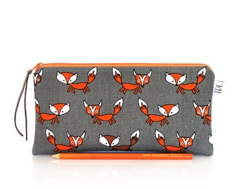 Fox zipper pouch, Kids pencil case, Back to school, Woodland, Small MakeUp bag, Cosmetic case, Animal pouch, Pen bag, Teacher gift, Make Up