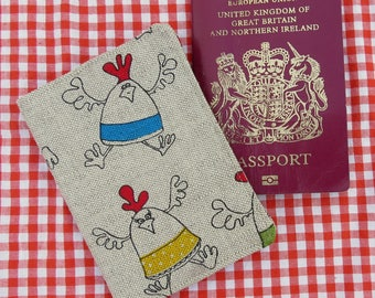 Chickens.  A passport cover with a chickens design.  Passport sleeve.