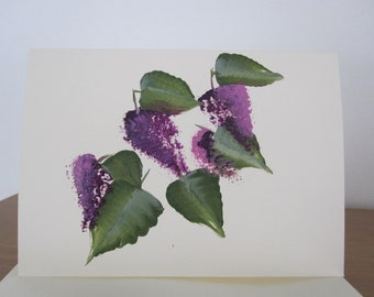 Lilac Card hand painted with Envelope great for Birthday, Mothes day, Get Well, Anniversary, Confirmation, Wedding, Retirement, Baptism,
