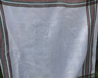 Vintage White, Red and Green Windowpane Linen Tablecloth