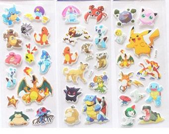 3 sheets of Pokemon Stickers,Pikachu 3D sticker,Planner Stickers,Planner Stickers, Kawaii Stickers, Cute Stickers, School Stickers