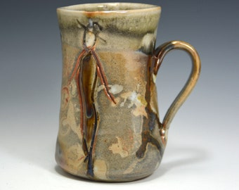 Ceramic mug Handmade  mug by Elena Madureri. 14 oz. Pottery Mug . Stoneware Mug / Coffee Cup -  Ceramic Coffee Mug, Pottery Handmade.