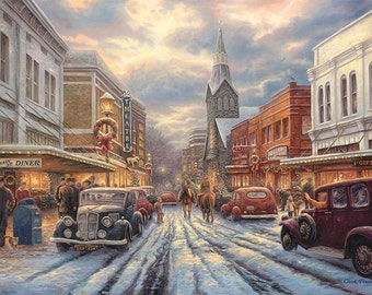 Americana Painting, Nostalgic Street Art, Classic Cars Artwork, Painting of Small Town Life, 1950s Art, Christmas Art, Old Theater Art-3744