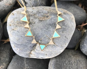 14k Yellow Gold Diamond Turquoise Triangles Necklace, Geometric Necklace, Dainty Diamond Necklace, Turquoise Necklace, Layering Necklace