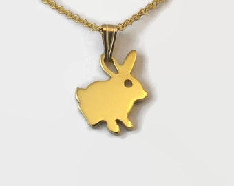 Tiny Gold Plated Rabbit Necklace - Animal Jewelry, a 24 Carat Gold Plated Bunny Rabbit Charm on a delicate chain