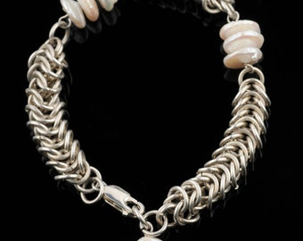 Chainmaille Bracelet ,Silver, White Pearls, Lentil-Shaped, Chunky, Antique Style, Statement