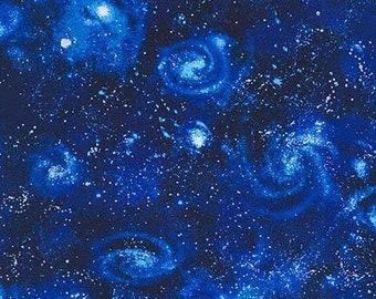 Stargazers - Robert Kaufman - Sea Urchin - SRK-14607-11 ROYAL - Sky Fabric - Night Sky Fabric - Stars