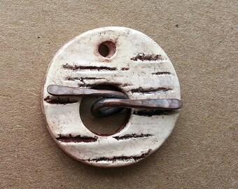 Toggle  Clasp Round Birch Bar Stoneware Ceramic Clay by Mary Harding