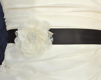 Wedding Belt, Wedding Sash, Bridal Belt, Bridal Sash, Wedding Dress Belt, Bridesmaid Belt, Flower Floral Dress Sash, Custom Color Sash