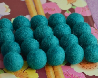 20pcs Turquoise Green Wool Felt Balls (1cm, 1.5cm, or 2cm)