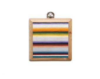 "ORIGINAL ""Serape No.1"" Painting -- Acryla Gouache on Square Wood Plaque -- 60's Mexican Blanket Pattern -- Pastel Ombre Stripes -- 5x5"""