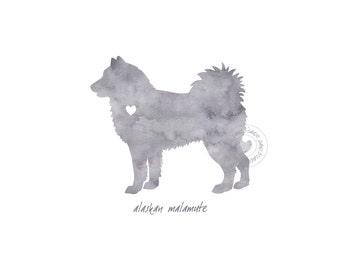 Alaskan Malamute Dog Watercolor Painting Digital Art Print Silhouette Custom Wall Decor, Home, Office, Nursery, Room Decor