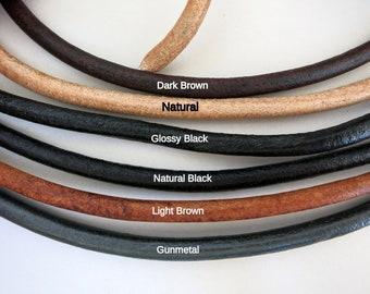 5mm Leather Cord 5 yards, Bulk Price, Gun Metal, Natural Black or Glossy Black, Natural, Dark or Light Brown, Ready to Ship!