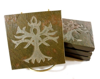 Tree of Life Coasters - Carved Stone Drink Coasters - Handmade Etched, Quality Slate Coasters Set, Wiccan Pagan Norse Viking Yggdrasil Decor