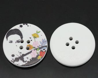 BBR30 - 2 BUTTONS WITH BUTTERFLY MOTIF WOODEN 30 MM ROUND