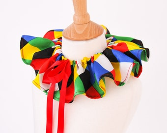 Multicolour Harlequin Collar | Clown Costume | Colourful Jester Clown Collar for Circus | Mardi Gras | Carnival Costume