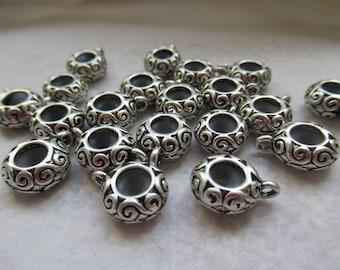 PERLES METAL BLOQUEURS  1.5 cm caoutchouc a motifs lot de 10 unités argentée et noire idéal pour créations bracelets avec perles