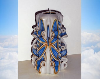 Blue Gold Candle - Unique handmade gift candle - Gift for friend - Hand Carved candles - 5 inch/ 12cm