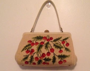 Vintage Embroidered Cherry Top Handle Purse