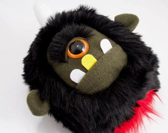 Severed Cyclops Head plush.....Handmade monster stuffed animal... black faux fur