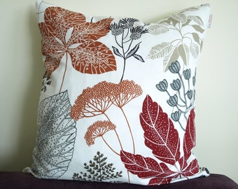 Pillow cover white burgundy red brown black grey beige leaves Botanical Decorative pillow for Throw pillows Floor Cushions Accent Pillows