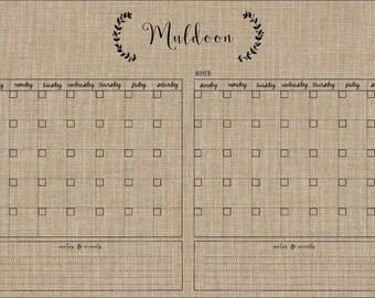 rustic calendar / 36 x 24 horizontal  / two month calendar #3617