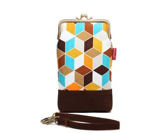 Brown cubic geometry smartphone kisslock sleeve