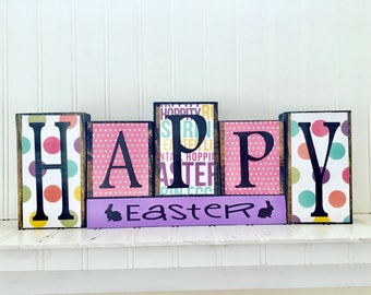 Happy Easter wood blocks--happy easter decor, bunny, Easter blocks, Spring blocks