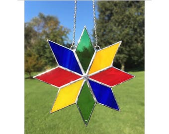 Stained Glass Blue, Yellow, Green and Red Star Suncatcher Decoration